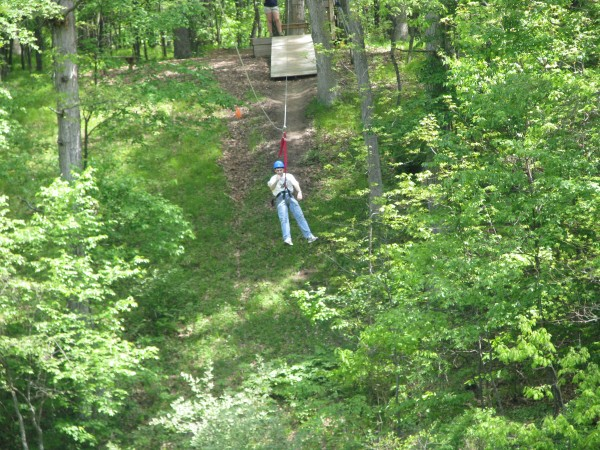 Kieran's 5th Grade Trip - Dad on the Zip Line