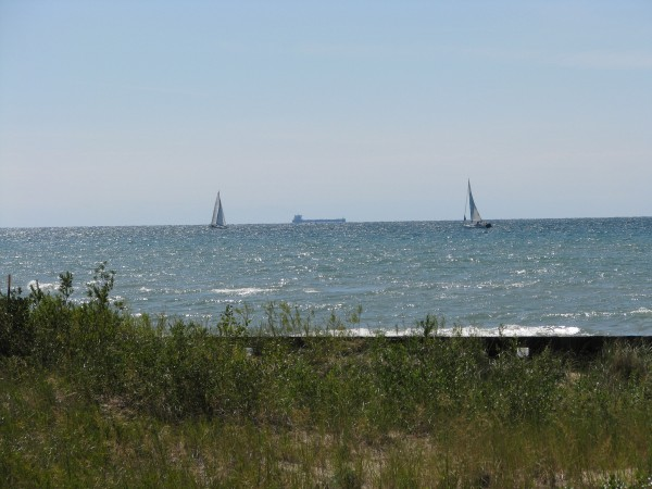 Freighter and Sail Boats