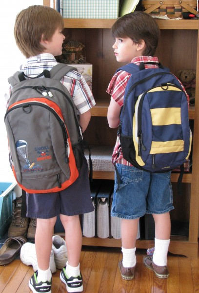 Declan and Owen First Day of Kindergarten Backpacks