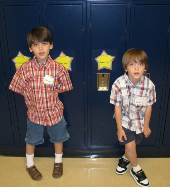 Declan and Owen With Their Lockers