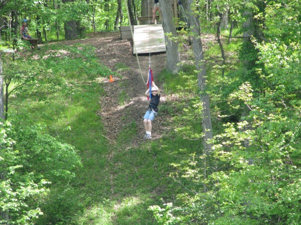 Kieran's 5th Grade Trip - Starting Down the Zip Line