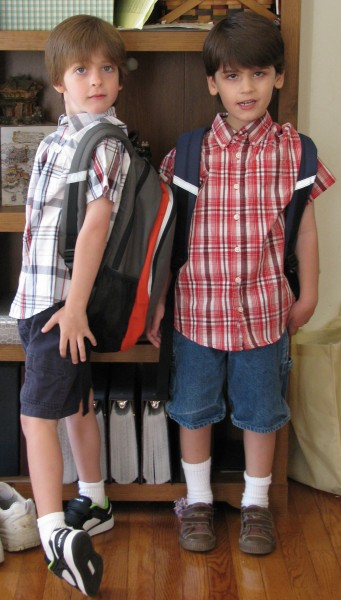 Declan and Owen First Day of Kindergarten Outfits